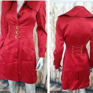 Marciano Red Satin Trench Coat